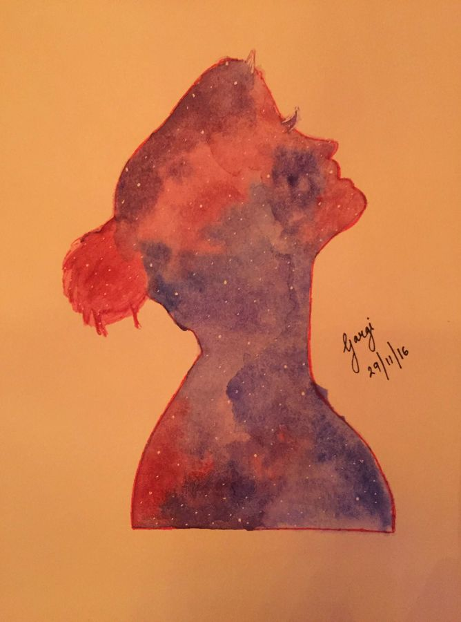 galaxy girl, 8 x 12 inch, gargi salaskar,abstract paintings,paintings for bedroom,thick paper,watercolor,8x12inch,GAL011002799