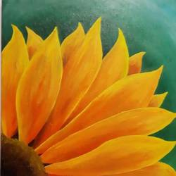 sunshine of the sunflower, 20 x 20 inch, safoora  kousar,20x20inch,canvas,paintings,flower paintings,paintings for living room,acrylic color,GAL01684328002