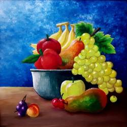 fruit basket, 15 x 15 inch, safoora  kousar,15x15inch,canvas,paintings,still life paintings,paintings for dining room,acrylic color,GAL01684328003