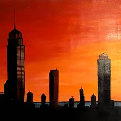 city serenity, 40 x 28 inch, safoora  kousar,40x28inch,canvas,paintings,modern art paintings,paintings for living room,acrylic color,GAL01684328006