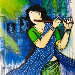 neelkamal , 36 x 36 inch, mrinal  dutt,36x36inch,canvas,paintings,figurative paintings,religious paintings,paintings for dining room,paintings for living room,paintings for bedroom,paintings for office,paintings for kids room,paintings for hotel,paintings for kitchen,paintings for hospital,acrylic color,GAL01311728008