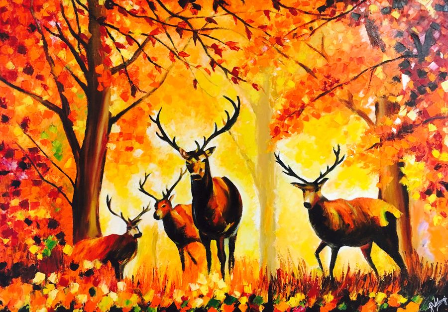 deer  ( knife ), 42 x 30 inch, gauravi velangi,paintings for living room,wildlife paintings,nature paintings,paintings for office,animal paintings,love paintings,canvas,oil,42x30inch,GAL010762801Nature,environment,Beauty,scenery,greenery