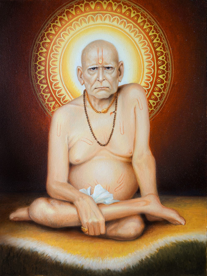 shri swami samarth, 18 x 24 inch, shailesh chibire,figurative paintings,paintings for living room,religious paintings,paintings for office,vertical,canvas,oil,18x24inch,GAL011042804