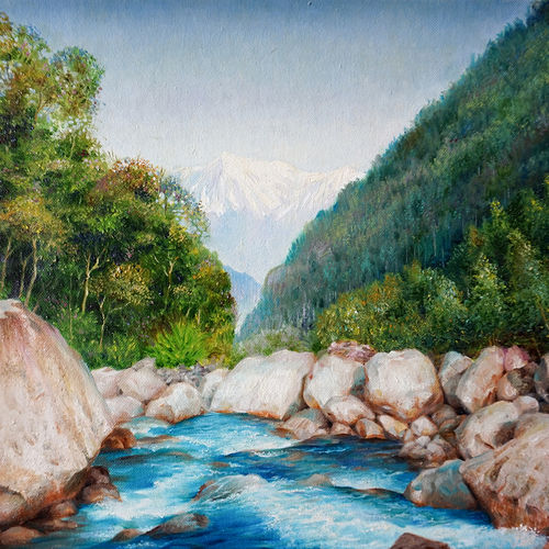 brook in himalaya, 18 x 14 inch, shailesh chibire,landscape paintings,paintings for bedroom,nature paintings,paintings for living room,paintings for office,square,canvas,oil,18x14inch,GAL011042805Nature,environment,Beauty,scenery,greenery