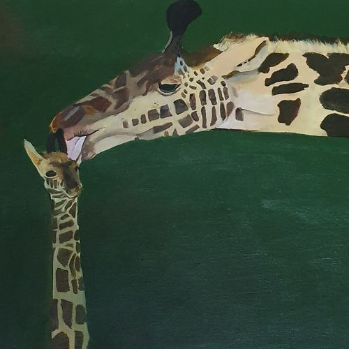 giraffe mother and kid, 21 x 13 inch, netanel  leo ,21x13inch,canvas,paintings,wildlife paintings,nature paintings | scenery paintings,animal paintings,paintings for dining room,paintings for living room,paintings for bedroom,paintings for office,paintings for kids room,paintings for hotel,paintings for school,paintings for dining room,paintings for living room,paintings for bedroom,paintings for office,paintings for kids room,paintings for hotel,paintings for school,acrylic color,GAL01693428051