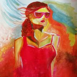 young lady, 12 x 17 inch, sneha  tomar,12x17inch,drawing paper,paintings,abstract paintings,figurative paintings,illustration paintings,paintings for dining room,paintings for living room,paintings for bedroom,paintings for hotel,acrylic color,GAL01285828063