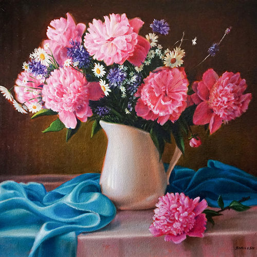 flowers, 24 x 18 inch, shailesh chibire,flower paintings,paintings for dining room,paintings for bedroom,horizontal,canvas,oil,24x18inch,GAL011042807