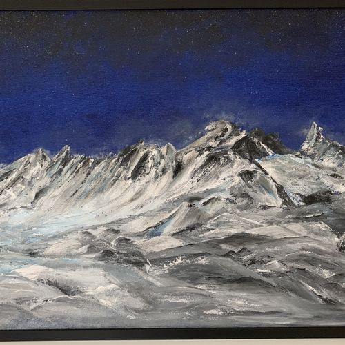 snowy mountains , 36 x 24 inch, kanchan joshi,36x24inch,canvas,paintings,landscape paintings,nature paintings | scenery paintings,acrylic color,sand,GAL01699428070