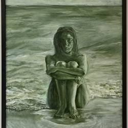 lady on the beach, 24 x 36 inch, kanchan joshi,24x36inch,canvas,paintings,figurative paintings,modern art paintings,portrait paintings,nature paintings | scenery paintings,acrylic color,sand,GAL01699428072