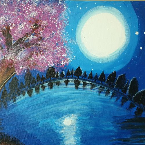 blue moon night, 18 x 14 inch, dini george,18x14inch,canvas,paintings,abstract paintings,landscape paintings,conceptual paintings,still life paintings,nature paintings | scenery paintings,photorealism,surrealism paintings,paintings for living room,paintings for bedroom,paintings for office,paintings for bathroom,paintings for kids room,paintings for hotel,paintings for school,paintings for hospital,acrylic color,GAL01664428084