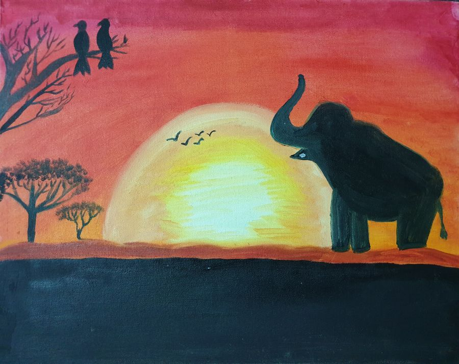 wildlife sunrise, 20 x 16 inch, dini george,20x16inch,canvas,paintings,wildlife paintings,landscape paintings,nature paintings   scenery paintings,photorealism paintings,photorealism,realism paintings,surrealism paintings,animal paintings,elephant paintings,paintings for dining room,paintings for living room,paintings for bedroom,paintings for office,paintings for bathroom,paintings for kids room,paintings for hotel,acrylic color,GAL01664428086
