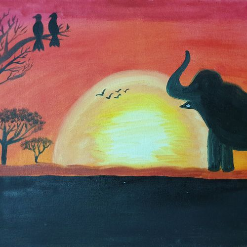 wildlife sunrise, 20 x 16 inch, dini george,20x16inch,canvas,paintings,wildlife paintings,landscape paintings,nature paintings | scenery paintings,photorealism paintings,photorealism,realism paintings,surrealism paintings,animal paintings,elephant paintings,paintings for dining room,paintings for living room,paintings for bedroom,paintings for office,paintings for bathroom,paintings for kids room,paintings for hotel,acrylic color,GAL01664428086