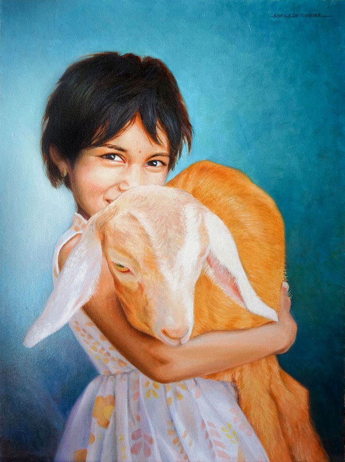 maya with her baby goat , 18 x 24 inch, shailesh chibire,figurative paintings,paintings for living room,animal paintings,children paintings,kids paintings,vertical,paintings for school,canvas,oil,18x24inch,GAL011042809