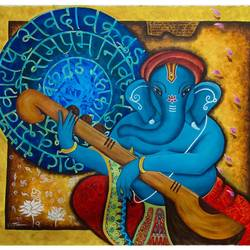 vighnaharta, 27 x 22 inch, kavya shrama,27x22inch,canvas,paintings,figurative paintings,religious paintings,realism paintings,ganesha paintings | lord ganesh paintings,realistic paintings,paintings for dining room,paintings for living room,paintings for bedroom,paintings for office,paintings for hotel,acrylic color,GAL01700928094
