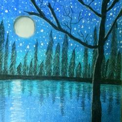 night painting , 297 x 210 inch, sadaf anees antulay,297x210inch,thick paper,nature paintings | scenery paintings,poster color,GAL0527528097