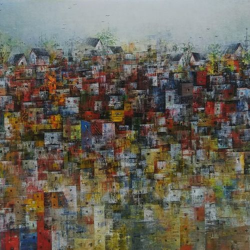 colourfully village houses, 36 x 24 inch, m. singh,36x24inch,canvas,paintings,abstract paintings,cityscape paintings,landscape paintings,modern art paintings,conceptual paintings,nature paintings | scenery paintings,abstract expressionism paintings,expressionism paintings,impressionist paintings,contemporary paintings,paintings for dining room,paintings for living room,paintings for bedroom,paintings for office,paintings for kids room,paintings for hotel,paintings for school,paintings for hospital,acrylic color,GAL0537728099