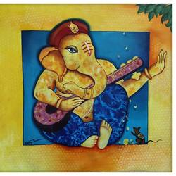 vighnaraj, 27 x 27 inch, kavya shrama,27x27inch,canvas,paintings,figurative paintings,religious paintings,ganesha paintings | lord ganesh paintings,realistic paintings,paintings for dining room,paintings for living room,paintings for bedroom,paintings for office,paintings for hotel,acrylic color,GAL01700928101
