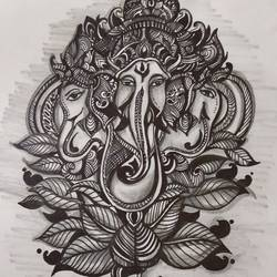ganesha_the divine power, 40 x 30 inch, sangeeta paul,40x30inch,drawing paper,drawings,art deco drawings,mixed media,pen color,GAL01692628103