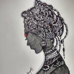 tribal-lady-inked-in-marker-pen, 40 x 30 inch, sangeeta paul,40x30inch,drawing paper,drawings,abstract drawings,abstract expressionism drawings,art deco drawings,paintings for living room,paintings for hotel,paper,GAL01692628107