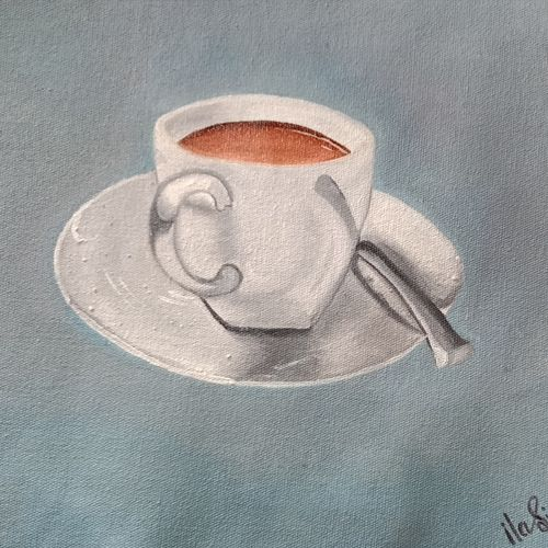 tea painting, 14 x 10 inch, ila  singh,14x10inch,canvas,paintings,conceptual paintings,expressionism paintings,illustration paintings,impressionist paintings,photorealism paintings,photorealism,realism paintings,paintings for dining room,paintings for living room,paintings for bedroom,paintings for office,paintings for kids room,paintings for hotel,paintings for kitchen,paintings for school,paintings for hospital,oil color,GAL0795928111