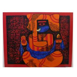 ganesha, 30 x 24 inch, amrita dutta,30x24inch,canvas,paintings,ganesha paintings | lord ganesh paintings,paintings for dining room,paintings for living room,paintings for bedroom,paintings for office,paintings for hotel,paintings for dining room,paintings for living room,paintings for bedroom,paintings for office,paintings for hotel,acrylic color,ink color,mixed media,GAL01702528112