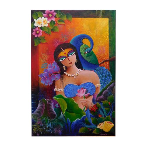 lady love, 24 x 36 inch, amrita dutta,24x36inch,canvas,paintings,figurative paintings,paintings for dining room,paintings for living room,paintings for bedroom,paintings for hotel,acrylic color,GAL01702528115