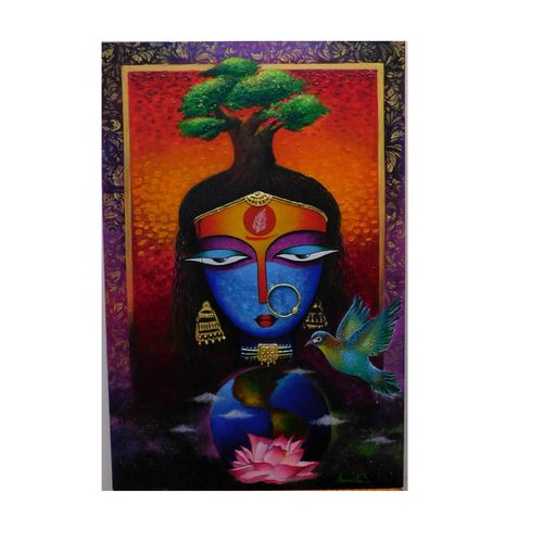 mother earth, 24 x 36 inch, amrita dutta,24x36inch,canvas,paintings,portrait paintings,paintings for dining room,paintings for living room,paintings for bedroom,paintings for hotel,acrylic color,mixed media,GAL01702528117