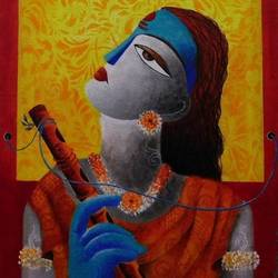 lord krishna, 14 x 18 inch, amrita dutta,14x18inch,canvas,paintings,religious paintings,paintings for dining room,paintings for living room,paintings for bedroom,paintings for hotel,acrylic color,mixed media,GAL01702528119