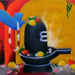 shivlinga, 18 x 14 inch, amrita dutta,18x14inch,canvas,paintings,lord shiva paintings,paintings for dining room,paintings for living room,paintings for bedroom,paintings for hotel,acrylic color,GAL01702528120