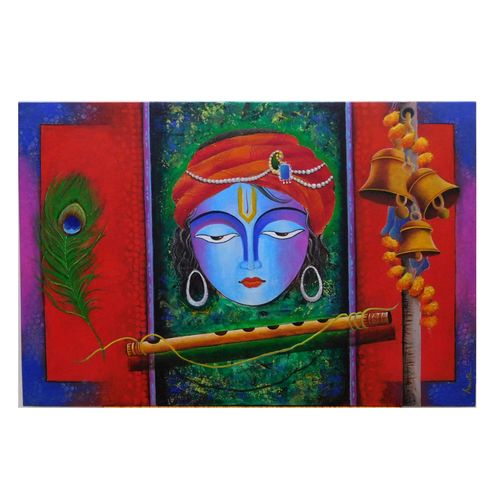 krishna with flute, 36 x 24 inch, amrita dutta,36x24inch,canvas,religious paintings,paintings for dining room,paintings for living room,paintings for bedroom,paintings for hotel,paintings for dining room,paintings for living room,paintings for bedroom,paintings for hotel,acrylic color,GAL01702528121