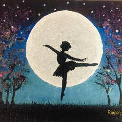 moonlight beauty, 18 x 14 inch, raman malpani,18x14inch,canvas,paintings,abstract paintings,flower paintings,foil paintings,landscape paintings,paintings for dining room,paintings for living room,paintings for bedroom,paintings for office,paintings for kids room,paintings for hotel,paintings for kitchen,paintings for school,paintings for hospital,acrylic color,fabric,GAL01698828126