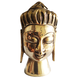 handcrafted meditating buddha face statue , 3 x 6 inch, vgo cart,3x6inch,canvas board,handicrafts,buddha statue,brass,GAL01132728142