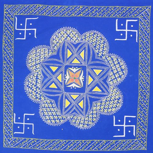 kendra bhaw alekh, 19 x 19 inch, manish pandey,19x19inch,cloth,folk art paintings,paintings for office,paintings for office,fabric,GAL01670028152