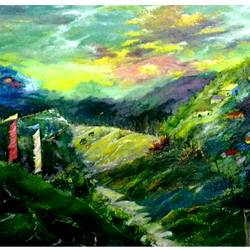 afternoon in the hill, 16 x 12 inch, diptonil banerjee,16x12inch,canvas,landscape paintings,oil color,GAL01103228153