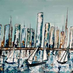 new york skyline, 43 x 31 inch, anand manchiraju,43x31inch,canvas,cityscape paintings,paintings for dining room,paintings for living room,paintings for office,paintings for hotel,paintings for dining room,paintings for living room,paintings for office,paintings for hotel,oil color,GAL01254028160