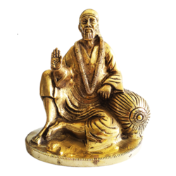 blessing brass shirdi saibaba sculpture, 6 x 7 inch, vgo cart,6x7inch,canvas board,handicrafts,religious statues,brass,GAL01132728175