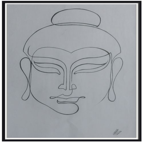buddha line art, 13 x 20 inch, nitesh suthar,abstract drawings,paintings for dining room,figurative drawings,drawing paper,watercolor,13x20inch,GAL08462818