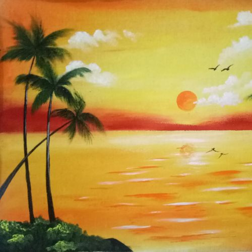 peaceful morning, 23 x 15 inch, apeksha agrawal,23x15inch,canvas,paintings,nature paintings | scenery paintings,acrylic color,GAL01501128187