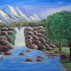 landscape waterfall, 16 x 12 inch, kailash chand,16x12inch,canvas board,paintings,landscape paintings,oil color,GAL01639228194