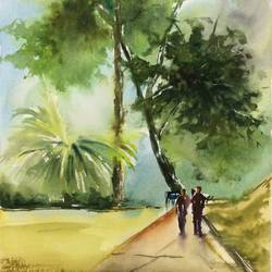 original watercolor painting a unique gift for best friends birthday home decor paintings of tree mothers day gift from daughter, 13 x 21 inch, dipankar  biswas,13x21inch,handmade paper,paintings,landscape paintings,nature paintings | scenery paintings,minimalist paintings,paintings for dining room,paintings for living room,paintings for bedroom,paintings for office,paintings for hotel,watercolor,paper,GAL0293228208