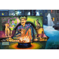 the watchman, 29 x 19 inch, sourav sarkar,29x19inch,thick paper,paintings,figurative paintings,cityscape paintings,conceptual paintings,expressionism paintings,illustration paintings,impressionist paintings,animal paintings,love paintings,paintings for dining room,paintings for living room,paintings for bedroom,paintings for office,paintings for kids room,paintings for hotel,paintings for school,poster color,GAL01707928217