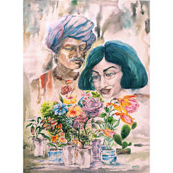 the flower buyer, 22 x 30 inch, sourav sarkar,22x30inch,handmade paper,paintings,figurative paintings,flower paintings,conceptual paintings,expressionism paintings,illustration paintings,impressionist paintings,contemporary paintings,paintings for dining room,paintings for living room,paintings for bedroom,paintings for office,paintings for kids room,paintings for hotel,paintings for school,paintings for hospital,watercolor,GAL01707928222
