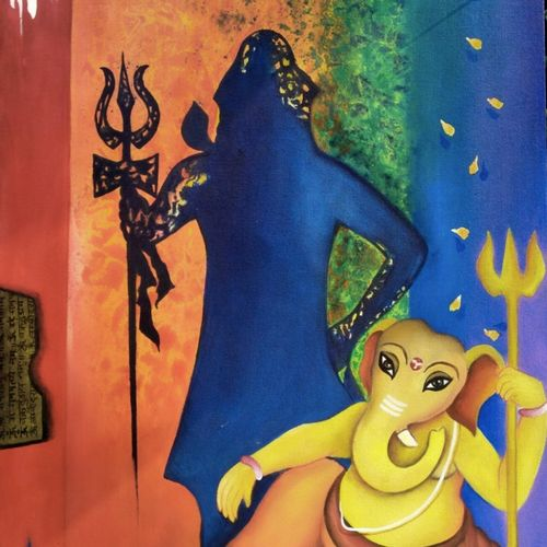 shivanandan, 30 x 36 inch, kavya shrama,30x36inch,canvas,paintings,figurative paintings,religious paintings,ganesha paintings | lord ganesh paintings,paintings for dining room,paintings for living room,paintings for bedroom,paintings for office,paintings for hotel,acrylic color,GAL01700928223