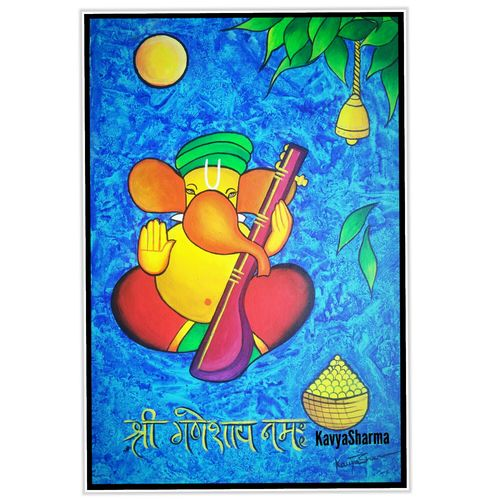 ganesha, 12 x 20 inch, kavya shrama,12x20inch,canvas,paintings,religious paintings,ganesha paintings | lord ganesh paintings,realistic paintings,paintings for dining room,paintings for living room,paintings for bedroom,paintings for office,paintings for kids room,paintings for hotel,acrylic color,GAL01700928224
