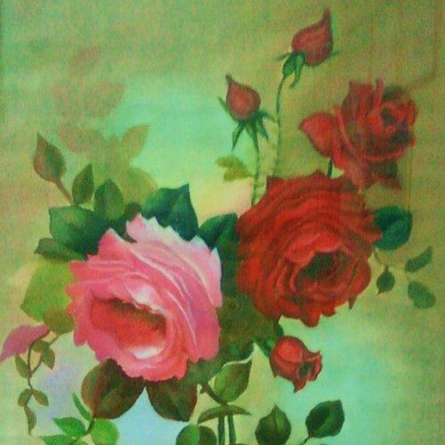 roses, 13 x 20 inch, sneha  tomar,13x20inch,oil sheet,paintings,flower paintings,art deco paintings,paintings for dining room,paintings for living room,paintings for bedroom,paintings for office,paintings for hotel,paintings for hospital,oil color,GAL01285828227