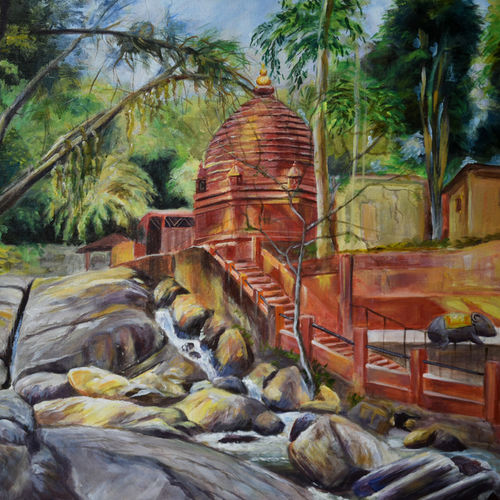 basistha temple 2, 24 x 20 inch, debojyoti boruah,24x20inch,canvas,paintings,landscape paintings,religious paintings,photorealism paintings,photorealism,realism paintings,realistic paintings,paintings for dining room,paintings for living room,paintings for bedroom,paintings for office,paintings for bathroom,paintings for kids room,paintings for hotel,paintings for kitchen,paintings for school,paintings for hospital,acrylic color,GAL01261428230