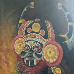 yakshagana mahishasura, 50 x 90 inch, girish  s,50x90inch,canvas,paintings,religious paintings,expressionism paintings,paintings for living room,paintings for office,paintings for hotel,oil color,GAL01444528245