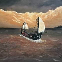sailing at dawn, 16 x 12 inch, amit soni,16x12inch,canvas,paintings,nature paintings | scenery paintings,surrealism paintings,paintings for living room,paintings for bedroom,paintings for office,paintings for hotel,acrylic color,GAL01671928251