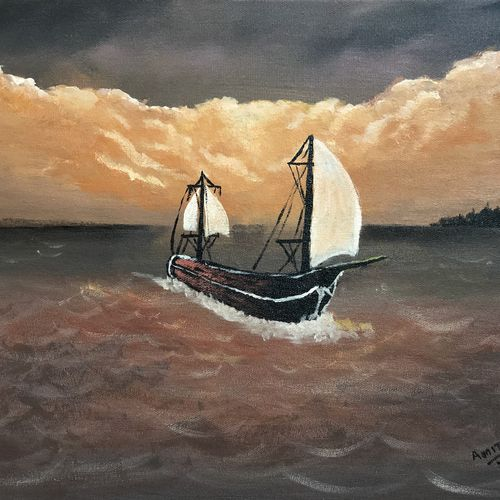 sailing at dawn, 16 x 12 inch, amit soni,16x12inch,canvas,paintings,nature paintings   scenery paintings,surrealism paintings,paintings for living room,paintings for bedroom,paintings for office,paintings for hotel,acrylic color,GAL01671928251