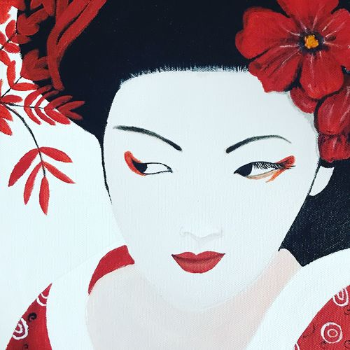 gorgeous geisha, 10 x 12 inch, shrishti aggarwal,10x12inch,canvas,paintings,abstract paintings,figurative paintings,portrait paintings,paintings for dining room,paintings for living room,paintings for bedroom,paintings for office,paintings for hotel,paintings for hospital,acrylic color,GAL01085528259
